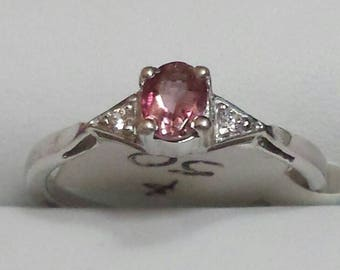 Beautiful Pink Tourmaline Sterling Silver Ring, Engagement Ring,Rhodium Plated, Natural Pink Tourmaline Stackable Ring, October Birthstone