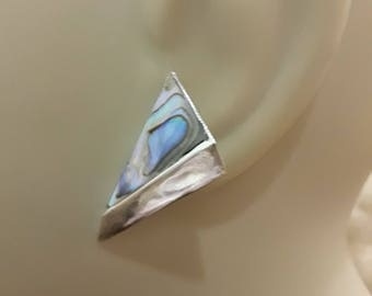 Sterling silver iridescent mother of pearl shell stud earrings