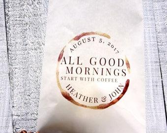 Coffee Favor Lined Bag, Custom Printed Favor Bag, Wedding Coffee Favor, Coffee Beans, Wedding Favor, Love is Sweet, Tin Tie Bag
