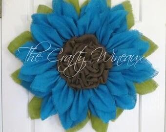 Rich Burlap, Turquoise Blue Burlap Flower, Burlap Sunflower Wreath, Spring Wreath, Summer Wreath, Housewarming Gift, Customizable Wreath