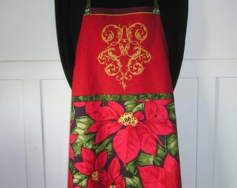 Christmas Apron, Red Poinsettia Kitchen Apron, Holiday Apron, Red and Green Apron, FREE SHIPPING!