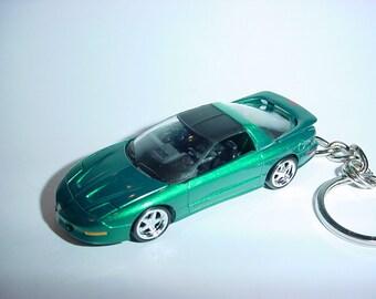 3D 1993 Pontiac Firebird custom keychain by Brian Thornton keyring key chain finished in teal color trim diecast metal body trans am