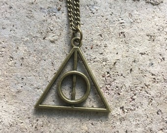 Deathly Hallows Bronze Pendant Harry Potter Inspired Necklace