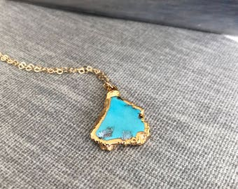 Sky & Gold// Sleeping Beauty Turquoise Necklace in Gold