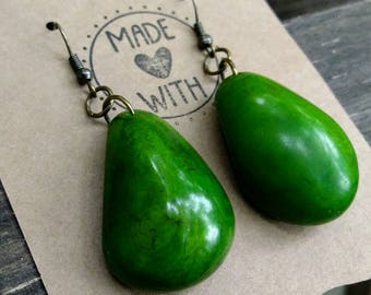 Green Tagua Drop Earrings ~ Tagua Nut Jewelry ~ Forest Green Earrings ~ Jungle Green Earrings ~ Eco Friendly Organic Natural Product ~ Boho