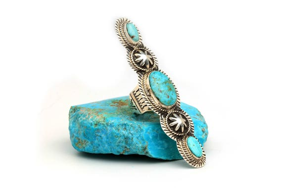 Size 6- XL Navajo Handmade Turquoise Ring, long boho indian statement