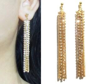 Clear Crystal Clip on Earrings |27y| Chandelier Clip Earrings, Dangle Clip On Earrings, Wedding Clip On, Bridal Clip on Earrings, clip-ons