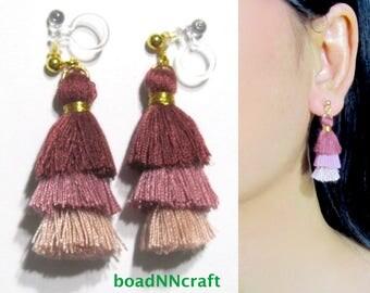 Invisible Clip-ons, Tiered Mini Pink Long Dangle Fringe Tassel Clip on Earrings  39B  Non Pierced Earrings, Magnetic Earrings Alternative