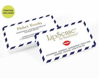 Gold & Navy Striped Business Cards - business cards,business card design,custom business card,cards,printing,hair,makeup,stylist,lipsense