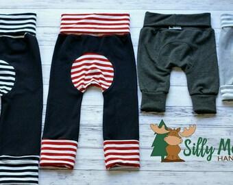 CUSTOM Maxaloones - SOLIDS or STRIPES - Girl Maxaloones - Boy Maxaloones - Grow With Me Pants - Baby Leggings - Cloth Diaper Pants