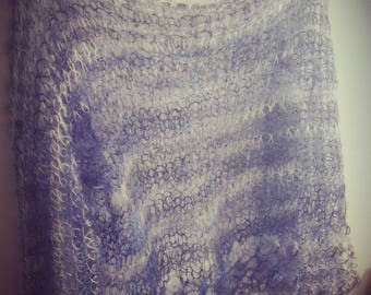 Loose knitted kid mohair  sweater. Hand knitted sweater made of kid mohair & silk yarn. Available in many colors.