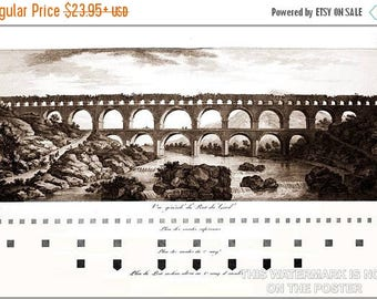 40% OFF SALE Poster, Many Sizes Available; Pont Du Gard By Charles-Louis Clérisseau, 1804, Aqueduct France Roman