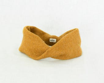 Saffron yellow headband way turban 100% wool