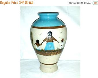Vintage Tonala Mexican Pottery Vase,Mother and Child,Tonala,Mexican Pottery,Cactus,Folk Art,Turquoise,Southwestern,Vintage Pottery,Amigos