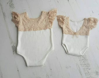 Ivory romper with lace- photography props