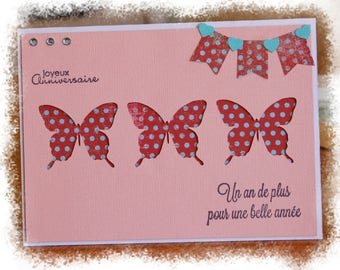 Spring birthday card decorated with 3 butterflies and pretty pennants