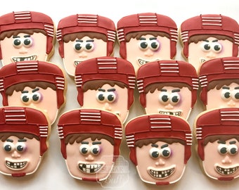 Hockey Decorated Cookies- One Dozen Little Bruiser Hockey Player Face Sugar Cookies