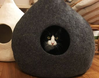 """Cat Cave Felt """"Drop DarkGrey-Brown"""", Cat Bed, Cat House, Pet Furniture. Hand-Felted (with olive oil soap) 100% Wool - Ready to ship"""