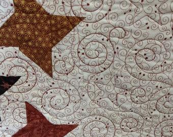 Copper metallic table runner Quilt. table topper black white winter stars 4722