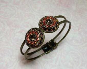 Rhinestone Cuff Bracelet, Hinged Cuff, Swarovski Cuff Bracelet, Swarovski Crystal, Costume Jewelry, Bangle, Old Hollywood, Vintage Style