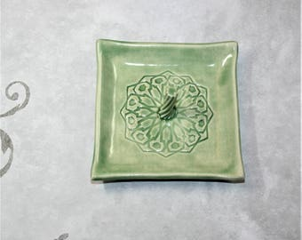 Green Square Mandala ring dish with center spiral. For bridesmaid, wedding favor, ring holder, prom, bride