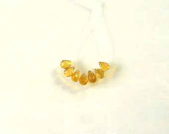 Madeira citrine faceted drop briolette bead AAA+ 5.5-6.5mm 7pcs