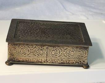 silver metal trinket box