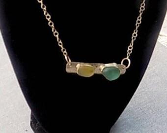 Sterling Silver Rare Color Sea Glass bar necklace