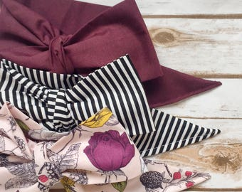Gorgeous Wrap Trio (3 Gorgeous Wraps)- Raisin, Noir Stripes & Vintage Pink Floral Gorgeous Wraps; headwraps; fabric head wraps; bows