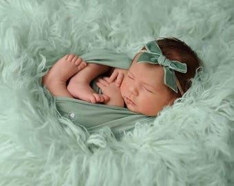 LAUREL VINTAGE VELVET Hand-tied Bow (Headband or Clip)- velvet bow headband; velvet bow; newborn headband; baby headband; toddler bow