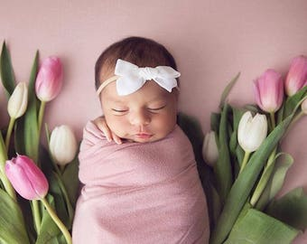 BLANC VINTAGE VELVET Hand-tied Bow (Headband or Clip)- velvet bow headband; velvet bow; newborn headband; baby headband; toddler bow