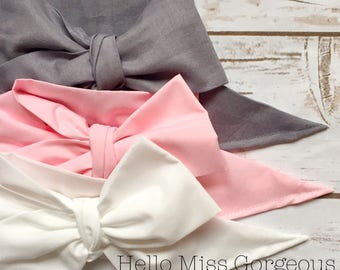 Gorgeous Wrap Trio (3 Gorgeous Wraps)- Platinum, Pink & Blanc Gorgeous Wraps; headwraps; fabric head wraps; bows