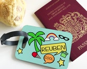 Personalised Retro Mint Kids Childrens Hardwood Glossy Luggage Tags for suitcase holiday accessory
