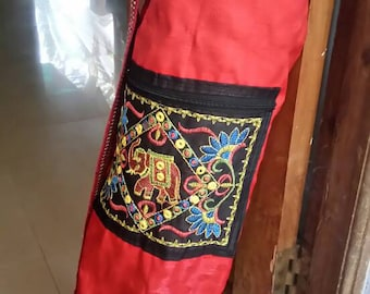 Red Yoga Mat Bag, Banjara, Boho, embroidery, mirror work, tribal, ethnic, India, elephant, colorful, vibrant colors, unique