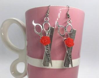 Stylist Earrings, Hairdresser Earrings, Cosmetologist Earrings, Scissor Earrings, Valentine's Day, Gifts For Stylists, Galentine's Day