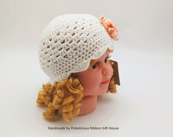 Crochet Interchangeable Flower Baby Hat/ Baby Summer Hat/ White Baby Hat (0-3 Month)