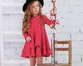 Pink cotton girls dress-Easter pink toddler dress-Long sleeve toddler dress-Cotton girls dress-Easter girls gift-Flutter girls dress
