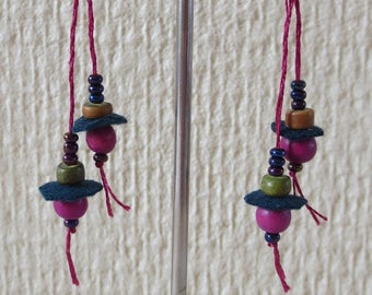 Purple beads and 5 felt earrings