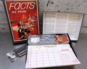 Vintage Facts In Five The Game Of Knowledge/Bookshelf Games/1969 3M St Paul, MN/Entertainment/Family Game Night/Ages 8 to Adult/1-5 Players
