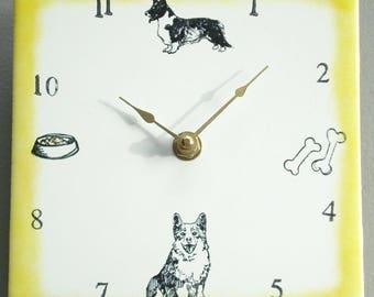 "Ceramic tile Welsh Corgi Cardigan dog clock, 6"" square, yellow border"