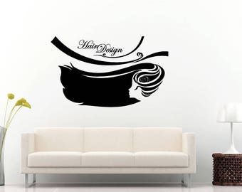 Hair Design Style Beauty Salon Shop Woman Fashion Wall Sticker Decal Vinyl Mural Decor Art L2287