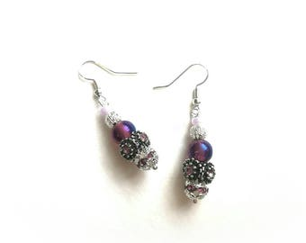 Purple silver earrings,purple pink metal silver color beads silve exclusive handmade fashionable earrings,long drop earrings,purple lampwork