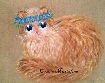 """""""Cat Miss Blueberry"""" acrylic painting on canvas."""