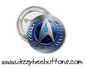 "Star Trek - United Federation of Planets Logo - 1.25"" or 1.5"" - Pinback button - Badge - Magnet - Keychain - Trekkies - Gift - Space"