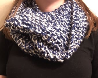 Knit Blue/White Infinity Scarf