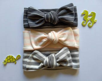 Top knot bow bundle| Baby headband bows | Blush stripe, charcoal gray stripe and light gray stripe head bow bundle | Hair accessories