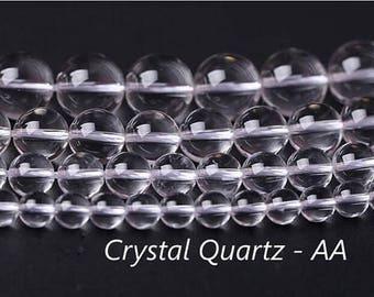 AA Natural Rock Crystal Quartz round beads, 2mm 4mm 6mm 8mm 10mm 12mm 14mm 16mm 18mm 20mm Quartz beads,15 inches 1 strand