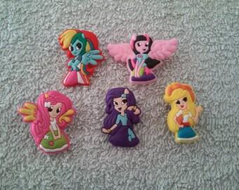 Lot 5 jibbitz My little pony (badges for fangs)