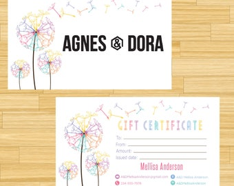 PRINTABLE Agnes and Dora Gift Certificate, Gift For You, Gift Card, Digital File AG014
