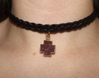 Druzy Cross Choker in Premium Leather